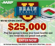AARP Sweepstakes: Win $25,000 in the Brain Health Sweepstakes | Ends 5.5.13
