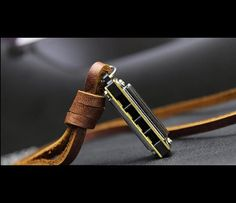 Mens necklace, leather necklace, harmonica necklace, mens leather, harmonica…