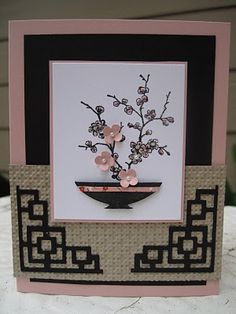 Cherry Blossom Ikebana card.  Lovely.  Great use of the Sizzlits corner die and a cuttlebug folder!