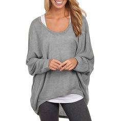 Fashion spring plus size t shirts brief irregular tops sexy Batwing Long Sleeve t-shirt plus size basic shirt 63 - Alternative Measures - Gray / L - 2