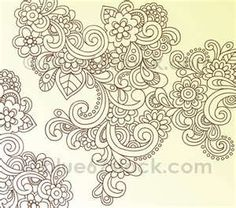 Hand-Drawn Psychedelic Paisley Henna Tattoo Doodle with Flowers and ...