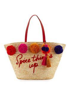 lewis way large pom market tote bag, multi