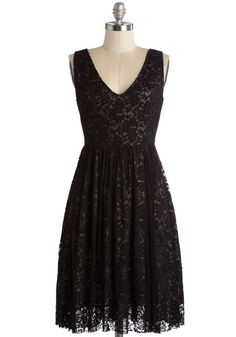 Swooning Under the Stars Dress. Tonights late-night picnic turned to stargazing after all the treats were gone, with you relaxing on the picnic blanket in this black lace dress to trace the constellations. #black #modcloth