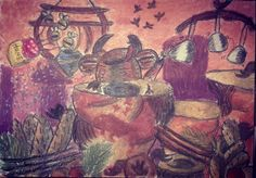 'Scrabanian Restaurant'; Size: A4; Technic: pastelle crayons & carbon; Game: Abe's Oddysee (Oddworld, 1997)