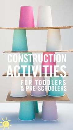 You can't go wrong with these 3 easy to set up construction activities that your toddlers/pre-schoolers will love!You can't go wrong with these 3 easy to set up construction activities that your toddlers/pre-schoolers will love! Preschool Learning Activities, Indoor Activities, Infant Activities, Classroom Activities, Preschool Activities, Preschool Names, Summer Activities, Construction Theme Preschool, Construction Crafts