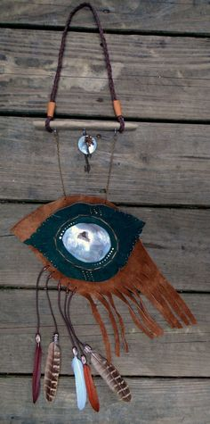 """DeviDesigns """"Hawks Eye"""" Agate Slice Geode Air Alter- Abalone Shell, Repurposed Suede, Feathers, Driftwood and Beads by DeviDesigns on Etsy"""