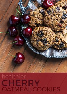 Dairy free, gluten free and healthier oatmeal cookies! The dried cherries here make for a great combination.