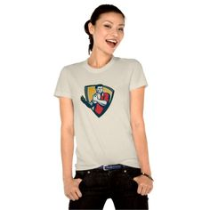 Rugby Player Running Ball Shield Retro Shirt. Rugby World Cup women's t-shirt with an illustration of a rugby player running with the ball set inside crest shield done in retro style. #rwc #rwc2015 #rugbyworldcup