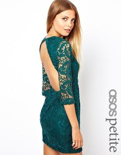 Image 1 ofASOS PETITE Exclusive Crochet Lace Shift Dress with Cut Out Back and 3/4 Sleeve
