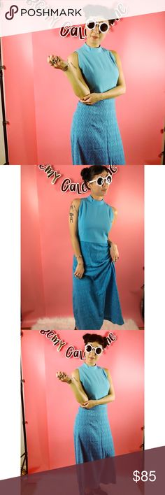 Vtg 60s Blue Abstract Print Boho Maxi Dress SM This is a gorgeous vintage 60s blue abstract print maxi dress. Fits a size small or medium. Back zipper. Poly blend material. Gently used and in great vintage condition. Additional photos, details and measurements coming tomorrow. Vintage Dresses Maxi