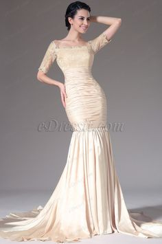 eDressit 2014 New Champagne Lace Top Short Sleeves Mermaid Evening Gown (26141114) $183
