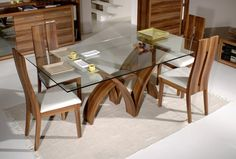 Glass wood dining table frameless glass dining table with modern rustic wood dining chairs AYGSCIL Dinning Table Design, Glass Dining Room Table, Wooden Dining Tables, Modern Dining Table, Dining Table Chairs, Wooden Chairs, Elegant Dining, Round Dining, Table Bases