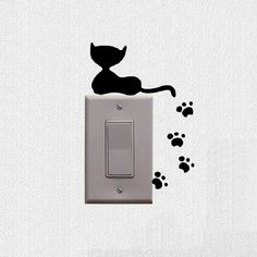 Cat And Claws Switch Stickers Wall Decal For Living Room Bedroom Decor 3SS0004