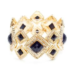 Few bracelets offer as much easy-on glam as the Serena. A classic in geometric design, Serena features large and small CZ bordered diamond shaped navy stones, set against braided gold. This sophisticated occasion-ready piece is a must have.  Find it on Splendor Designs
