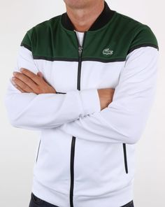 54ddc7d4c31c Lacoste Colourblock Tech Track Top White Green Black