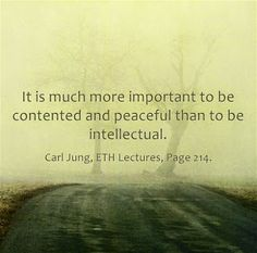 It is much more important to be contented and peaceful than to be intellectual. ~Carl Jung, ETH Lectures, Page 214.