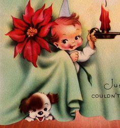 Vintage 1950s At Christmas Greetings Card (B1)
