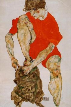 Female Model in Bright Red Jacket and Pants - Egon Schiele 1914