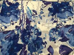 """Floral Chiffon Print, Ornate Print on a Blue, Purple Print on White Background, 58"""" wide, Sold by the Yard by PromenadeFabrics on Etsy"""