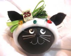 Black Cat Kitty Christmas Ornaments Sign Christmas Lights Personalized Name Tag Option Hand Painted Handmade Themed Townsend Custom Gifts Cat Christmas Ornaments, Christmas Cats, Christmas Lights, Homemade Christmas, Diy Christmas Gifts, Christmas Stocking, Christmas Ideas, Christmas Decorations, Navidad Diy