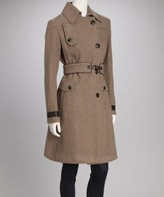 What better way to celebrate inclement weather than with a trendy trench? Flaunting military-inspired embellishments, this cozy coat features a luxe wool blend and is tapered to maintain a flattering fit.