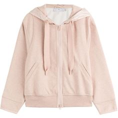 Adidas by Stella McCartney Cotton-Blend Hoodie ($140) ❤ liked on Polyvore featuring tops, cardigans, hoodies, shirts, sport, rose and adidas