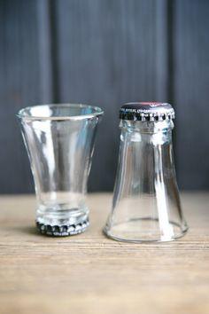 Bottlenecks upcycled to shot glasses