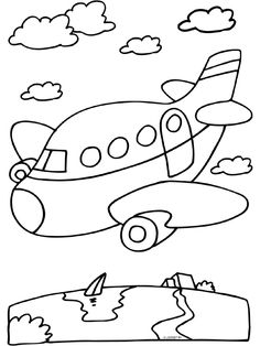 * Vliegtuig... Easy Coloring Pages, Coloring Sheets For Kids, Animal Coloring Pages, Coloring Books, Drawing For Kids, Art For Kids, Crafts For Kids, Outline Drawings, Easy Drawings