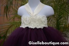 Flower girl dress. Eggplant with ivory Shabby by giselleboutique, $80.00
