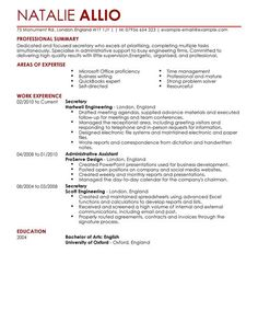 Secretary Resume Cover Letter Entry Level Administrative Assistant  Buy An Essay