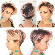 Rooted pink. Rootage with pink/rose/platinum. Short hair. Undercut, shaved.