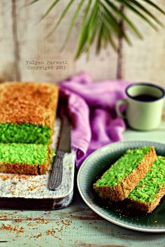 Pandan Coconut Cake // 5 egg yolks, 2 egg whites, 75 g sugar, 100 g cake flour, 20 g cornstarch, 30 g desiccated coconut, 50 g margarine (melted), 50 g of instant coconut milk, 1/8 t pandan essence, 5 drops of green colouring, 2 T desiccated coconut