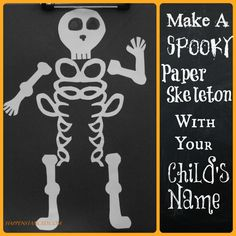 easy skeleton halloween craft name in cursive cut out turns in to the ribsspine