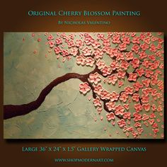 Original  Cherry  Blossom Tree Painting Impasto by ShopModernArt