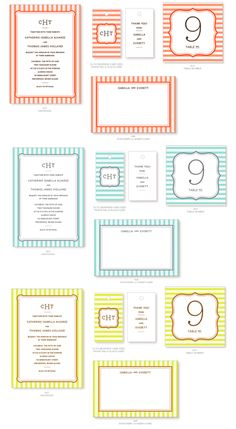 FREE colored stripe invitation/party sets! (red, blue, yellow, green)