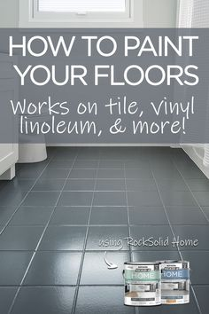Transform your bathroom in a day by painting your floor! Give your bathroom floor new life with this easy and inexpensive DIY floor painting project. Works on tile, linoleum, laminate, and more! No sanding or priming is required! Painted Bathroom Floors, Bathroom Floor Tiles, Painted Floors, Painted Floor Tiles, Stenciled Floor, Linoleum Flooring Bathroom, Laminate Tile Flooring, Ceramic Tile Bathrooms, Shiplap Bathroom