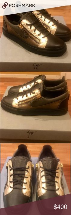 Men's Giuseppe Zanotti sneakers size 41 Dark brown, gold, military green. Never been worn. Has taps put on both shoes to avoid wear and tear, dust bag, box, and Neiman Marcus shopping bag included Giuseppe Zanotti Shoes Sneakers