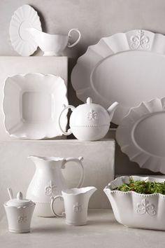 White Fleur de Lys Serveware from Anthropologie