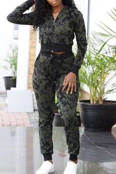 9b3f54552875 Lovely Euramerican Long Sleeves Printed Army Green Two-piece Pants Set Two  Piece Pants Set