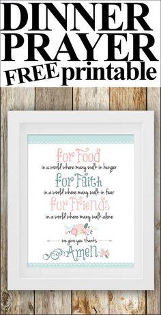 FREE Dinner Prayer Printable