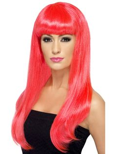 Bright Pink Long Straight Wig With Fringe Fancy Dress Costume Accessory Ladies 5020570424216 Easy College Halloween Costumes, Halloween Wigs, Pop Culture Halloween Costume, Adult Halloween, Family Halloween, Crazy Cat Lady, Karneval Diy, Rose Fushia, Circus Costume