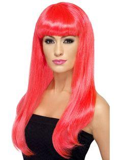 Neonperuukki. Pitkät hiukset valuvat puoleen selkään asti ja otsahiukset on leikattu kehystämään kasvoja. Useita eri värivaihtoehtoja.