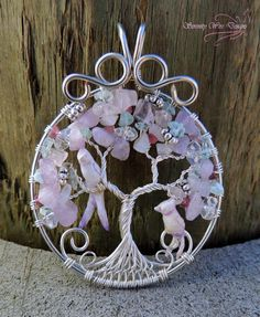 Mystic Lilac Amethyst Aquamarine Moonstone Tourmaline Bird Tree of Life Pendant…