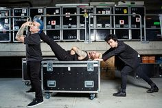 Actual picture of me and my friends when we're putting the band equipment away after youth band practice