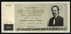 Banknotes of Czechoslovakia 5000 Korun bank note, Bedřich Smetana