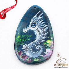 Hand Painted Sea horse  Agate Slice Gemstone Bead Necklace Pendant D1708 0562 #ZL #Pendant