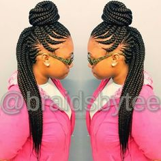 Ghana braids in a top bun!