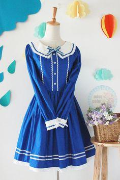 School Bow Long Sleeve Lolita Dress