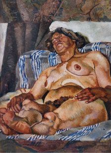 Image of nude man reclining on a bed