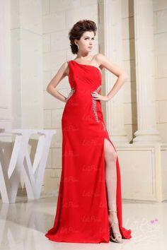 A-line One shoulder Split Front Prom Dress $106.00